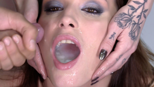 Victoria Daniels swallowing 55 big loads