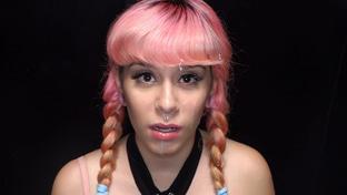 Pink Charlotte swallowing 14 gloryhole loads